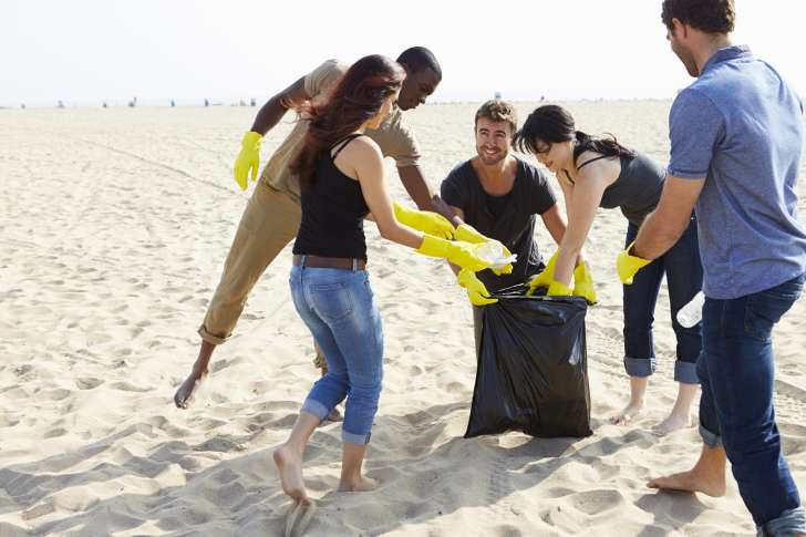 Cleaning up on the beach