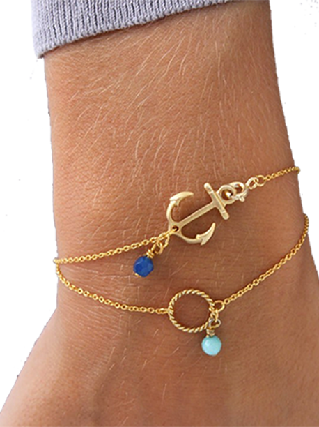 Gold-Colored 2-Strand Anchor/Bead Ankle Bracelet