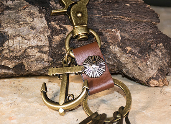 Brass-Tone Anchor Keychain
