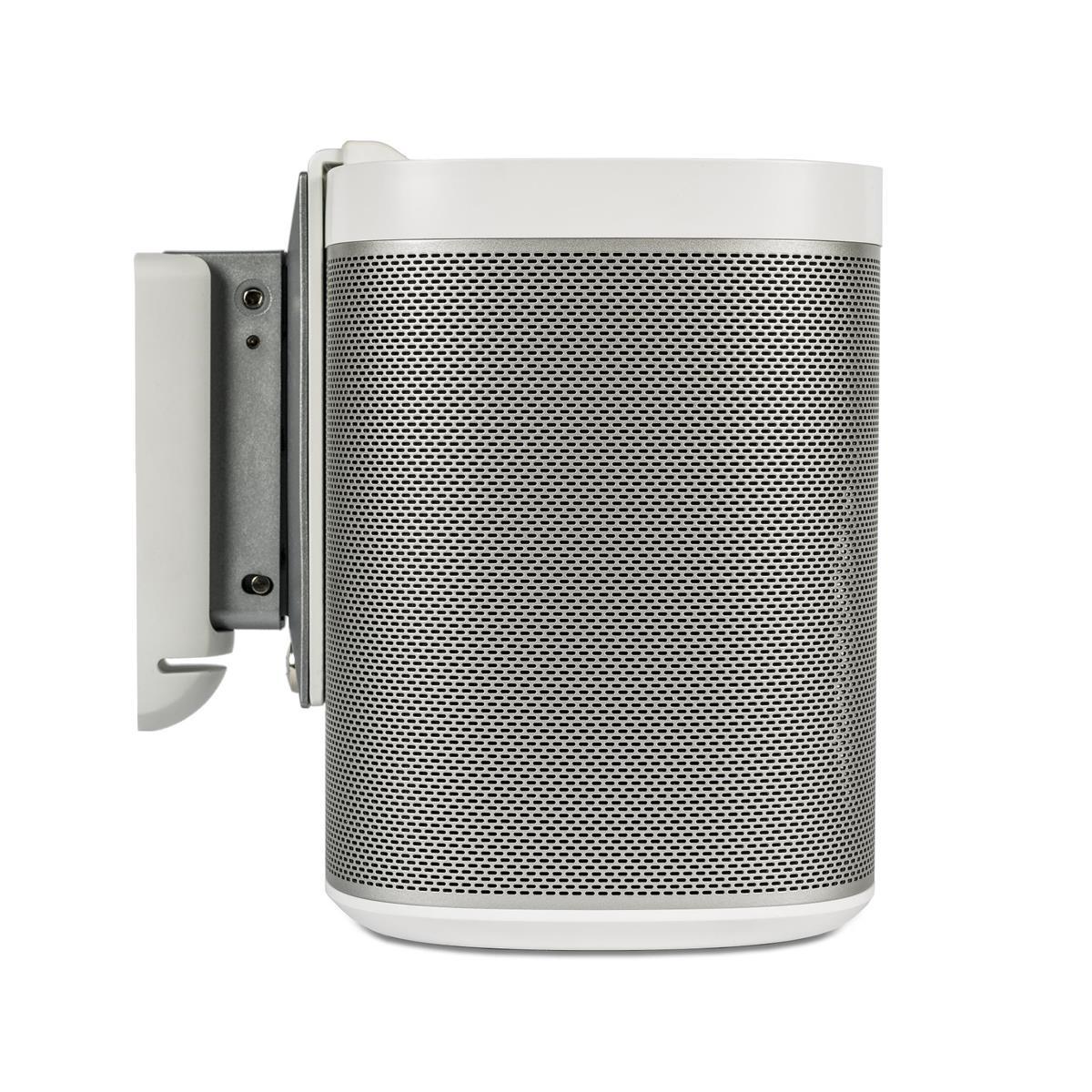 White Sonos Play 3 Speaker on Wall Mount Bracket - Side View - 01.jpg