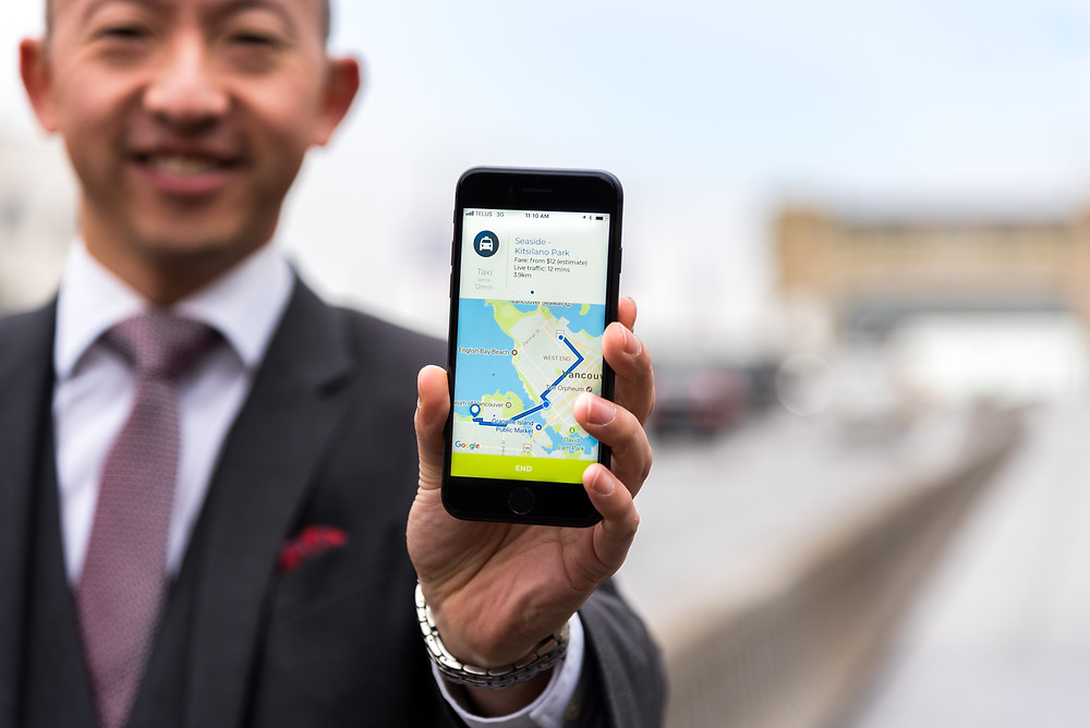 A local resident showing Cowlines app during the beta program in Metro Vancouver
