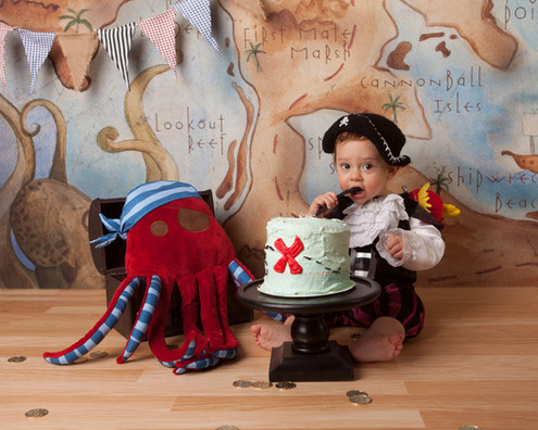 Pirate Theme Cake Smash Littleton Photographer