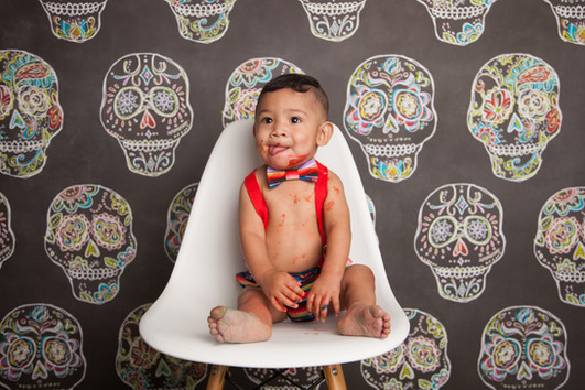 Disney's Coco Fiesta Themed Sugar Skulls Cake Smash Littleton Photographer