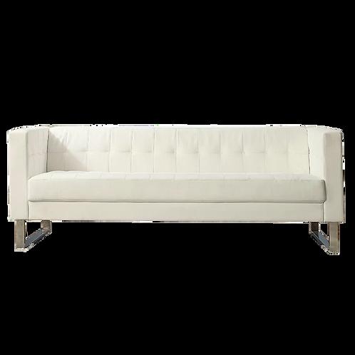 Ellis white leather sofa