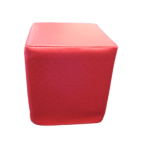 Red cube ottoman