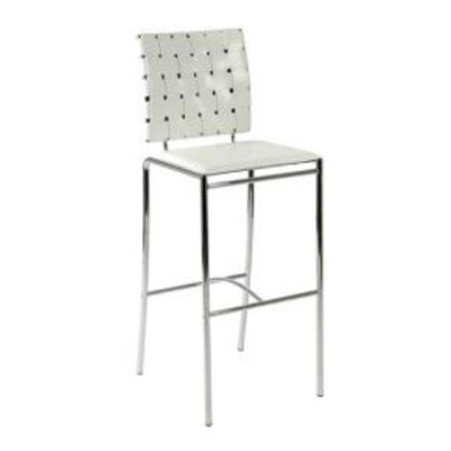 Criss-Cross white leather bar stool