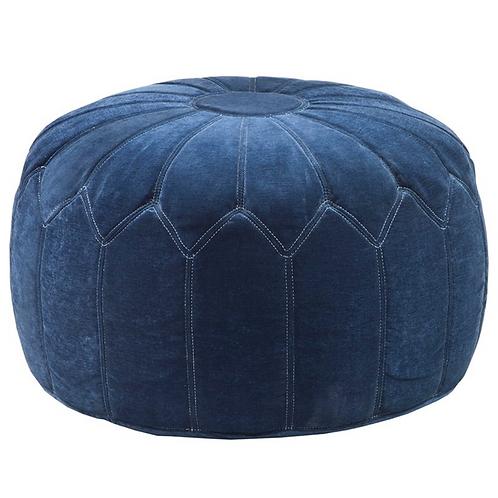 Pouf round blue