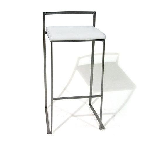 White leather bar stool
