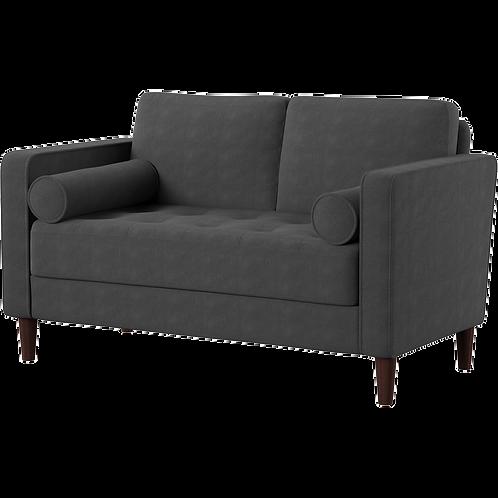 Mercury grey plush love seat