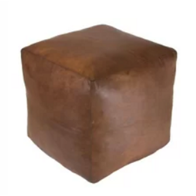 tan leather cube ottoman