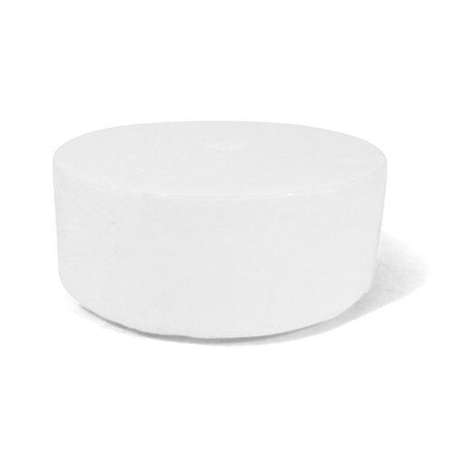 white leather round ottoman