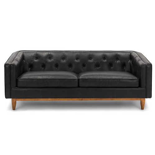 Draper black leather sofa