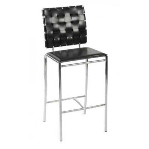 Criss-Cross black leather bar stool