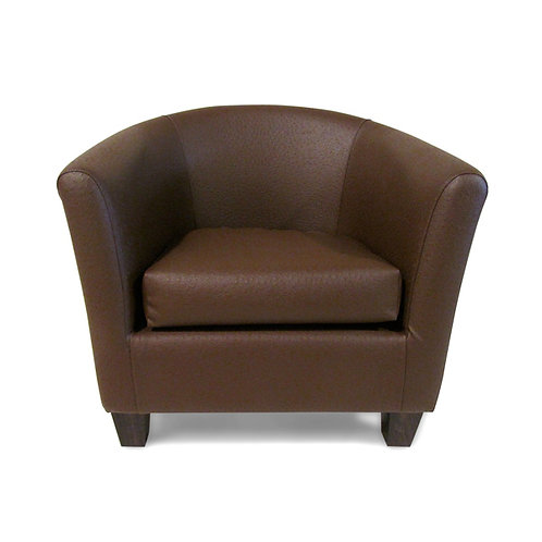 Barrel chair brown leather