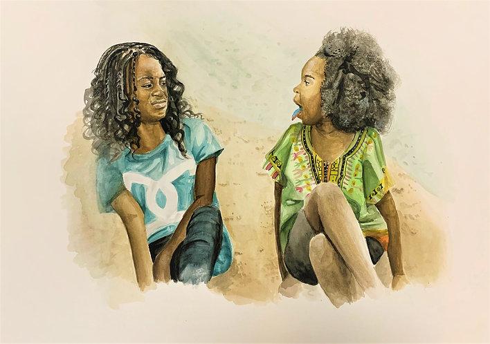 'Best friends' A3 watercolour painting