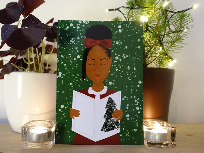 Carol girl Christmas card