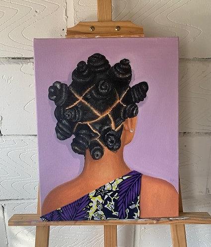 'Bantu knots' Oil on canvas painting