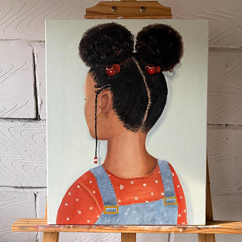'Afropuffs' Oil on canvas painting