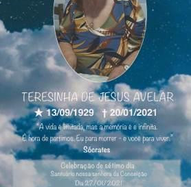 Missa de sétimo dia de Teresinha Avelar no Santuário de Nossa Senhora da Conceição