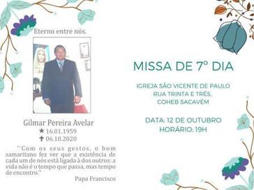 Missa de sétimo dia do ex-vereador Gilmar Avelar, amanhã, às 19 horas, em São Luís