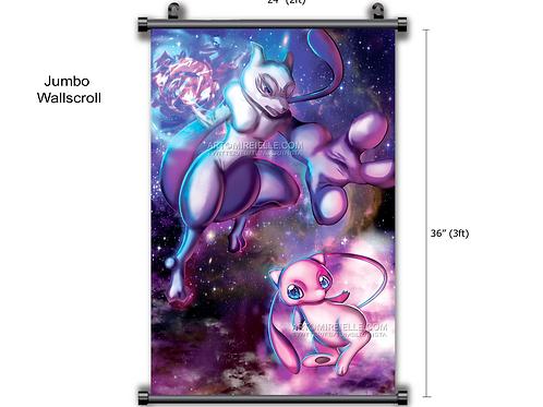Mew vs Mewtwo Pokemon Fanart Anime Wall Scroll