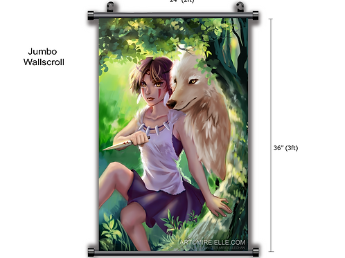 Princess Mononoke Wall Scroll Print Fanart Wall Art Studio Ghibli Anime