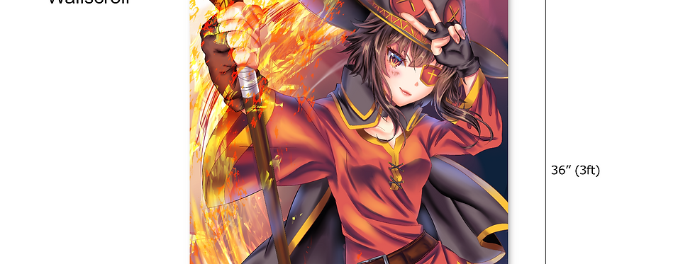 Megumin Konosuba Fanart Anime Wall Scroll