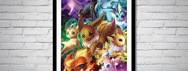 Eeveelutions Pokemon Fanart Poster Print Eevee Evolutions Video Game Wallscroll