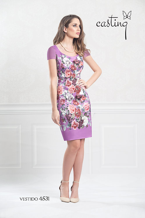 Purple floral print fitted dress