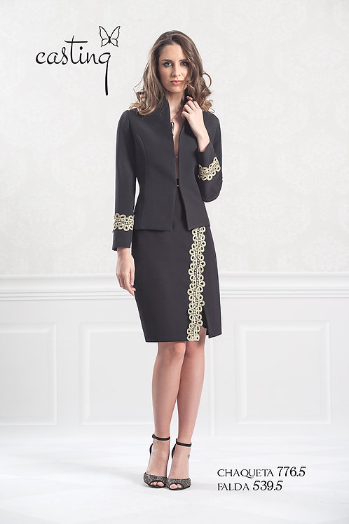 Black Jersey fitted jacket with gold braiding detail on sleeve