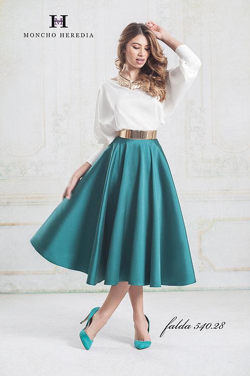 Green saten bias cut full skirt
