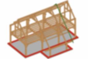Plan 3D de la maison type d' OTRA sprl Structure chêne pour construction en poteaux-poutres avec remplissage en blocs de chanvre