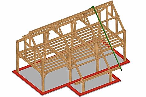OTRA Plan 3D de la maison type d' OTRA sprl Structure chêne pour construction en poteaux-poutres avec remplissage en blocs de chanvre