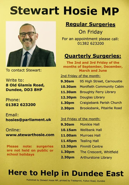 New Constituency Surgery Schedule