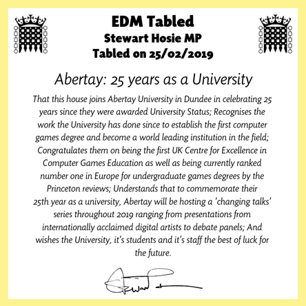 Abertay University recognised in Parliament