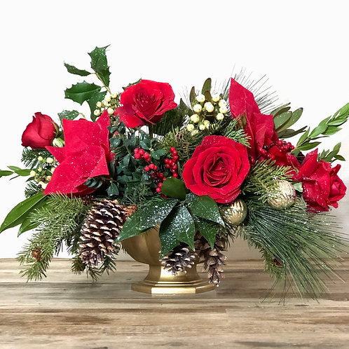Red roses and poinsettias