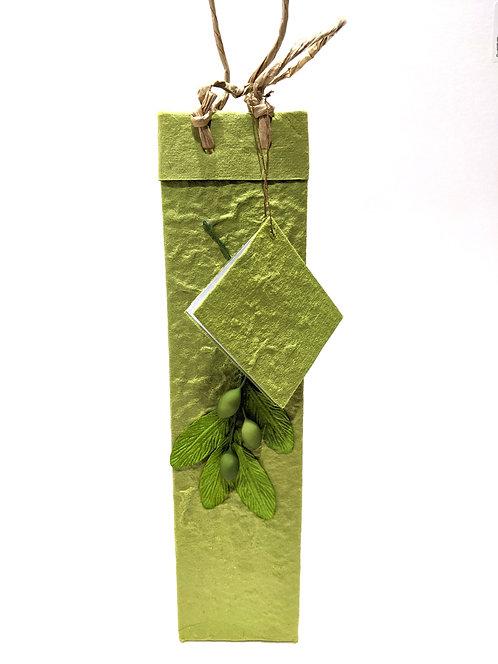 Olive Leaf Gift Bag, Medium Green Hand-made Thailand