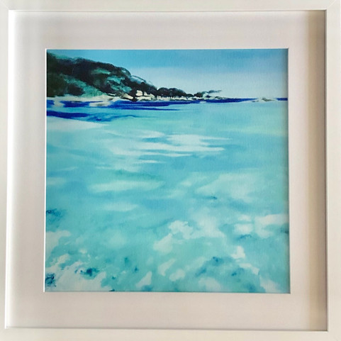 'Refresh' framed behind non reflective glass