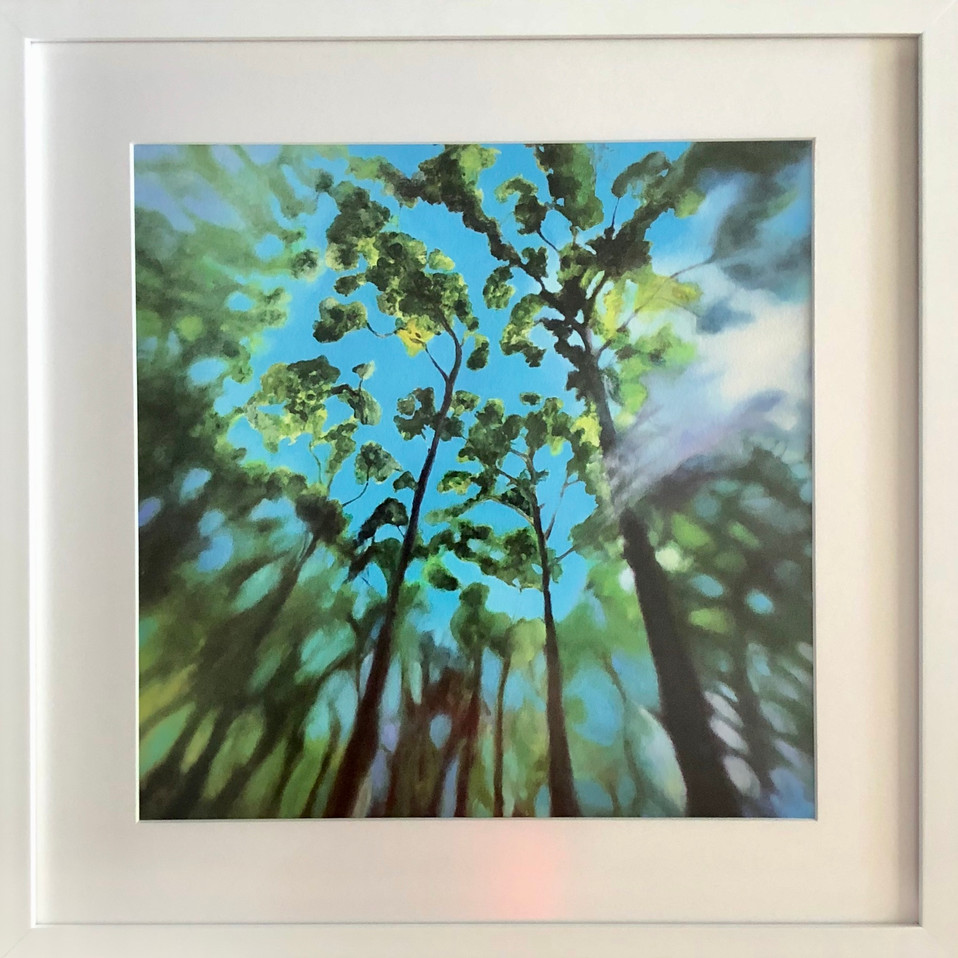 'High' framed behind non reflective glass