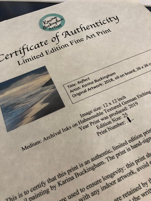 A Certificate of Authenticity