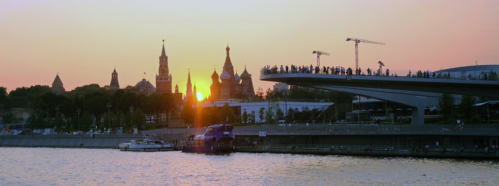 Moscow River Glass Bridge Sunset
