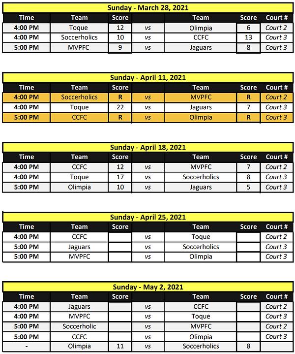 Development Futsal League (10 - 09 sched