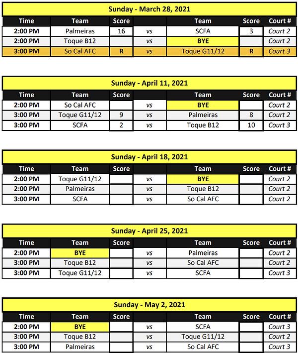 Development Futsal League (12 - 10 sched
