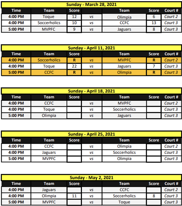 Development Futsal League (10 - 09 sched