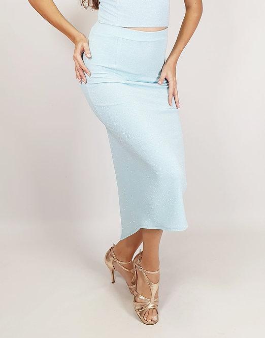 Aja - Baby Blue Shiny Tango Skirt