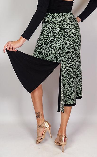Baby Cheetah Green - Animalic & Black Reversible Tango Skirt
