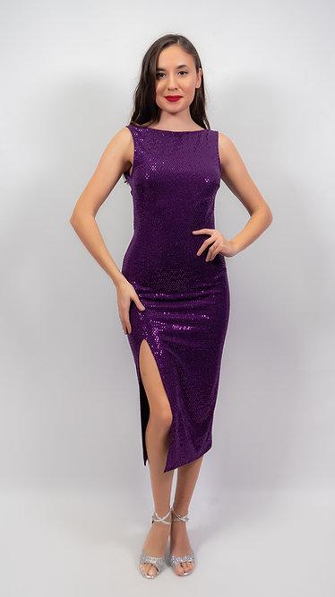 Thalia - Purple Sequin Closed Neck Shiny Tango Dress