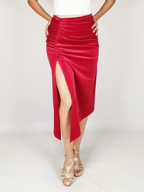 Magdalena - Red Shiny Velvet Tango Skirt