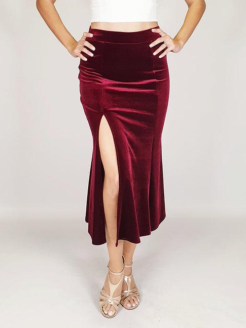 Alicia - Burgundy Velvet Tango Skirt
