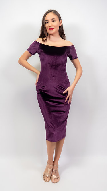Amelia Purple Velvet Off Shoulder Tango Dress